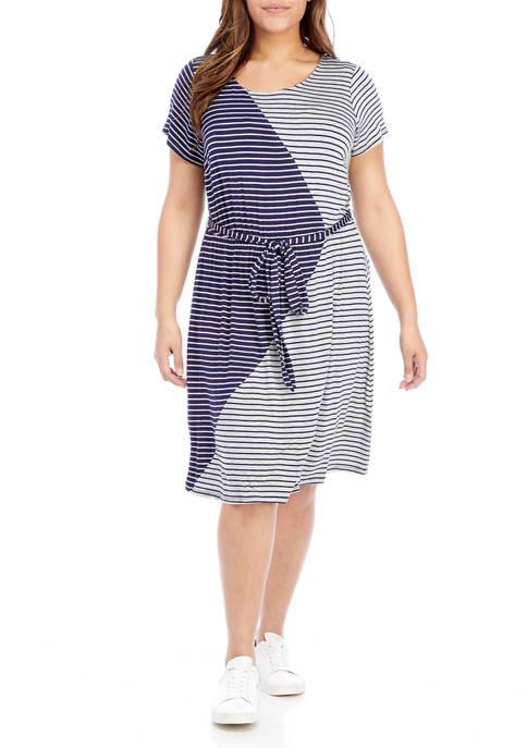 Plus Size Cap Sleeve Striped Tie Waist Dress