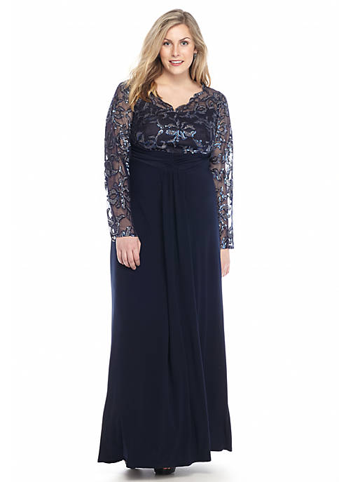 Marina Plus Size Gown With Sequin Belk