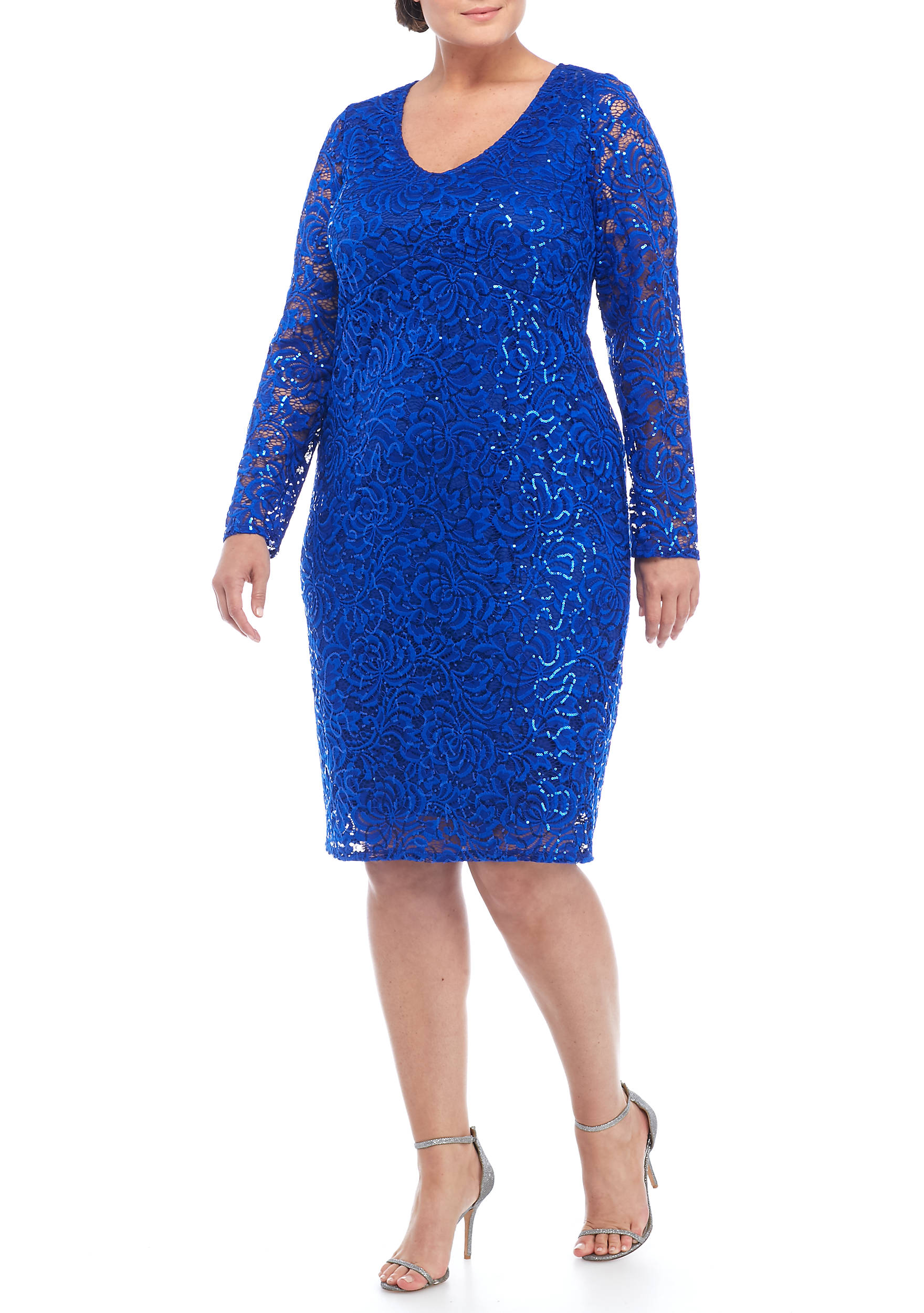 Marina Plus Size Lace And Sequin Cocktail Dress   belk