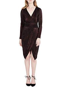 Ribbed Knit Faux Wrap Dress