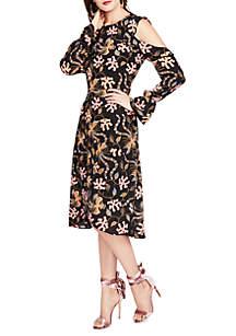 Cold Shoulder Print Midi Dress