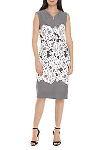 V-Neck Lace Puff Print Sheath Dress