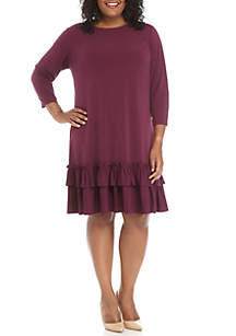3/4 Sleeve Double Ruffle Hem Dress
