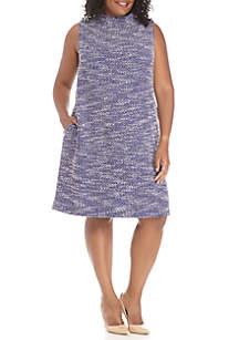 Plus Size Boucle Pearl Shoulder Dress