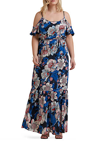 Beige by ECI Plus Size Cold Shoulder Printed Maxi Dress | belk