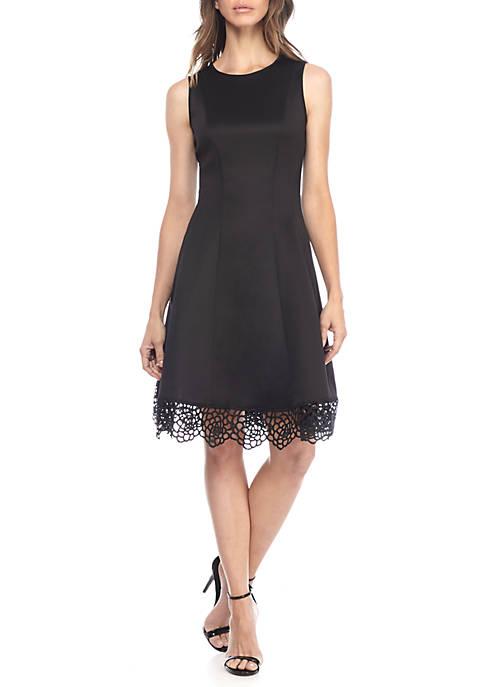 Donna Ricco New York Sleeveless Lace Hem Dress