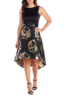 High Low Brocade Fit-and-Flare Dress