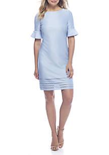 Short Sleeve Ruffle Laser Cut Hem Dress
