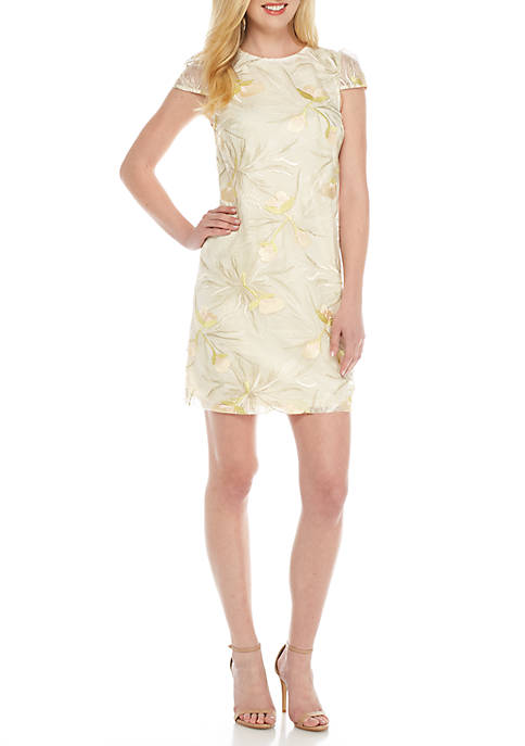Donna Ricco New York Embroidered Mesh Dress