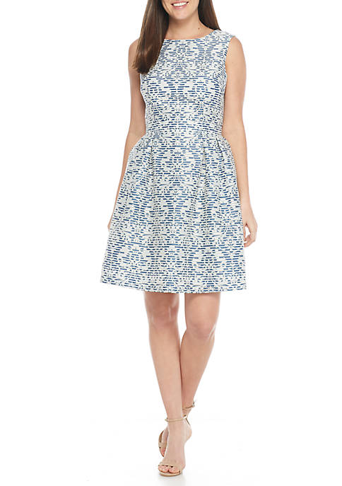 Donna Ricco New York Sleeveless Jacquard Fit-and-Flare Dress