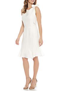 Sleeveless Tie Shoulder Ruffle Hem Dress
