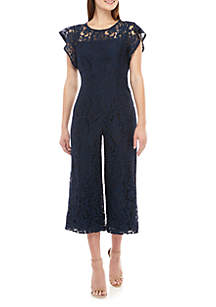 Donna Ricco New York Short Sleeve Allover Lace Jumpsuit