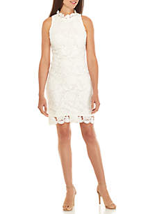 Sleeveless Mock Neck Lace Dress