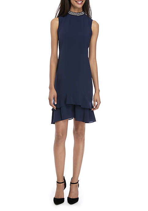 Donna Ricco New York Sleeveless Jewel Neck Dress