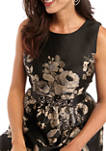 Womens Sleeveless Floral Jacquard Fit and Flare Dress