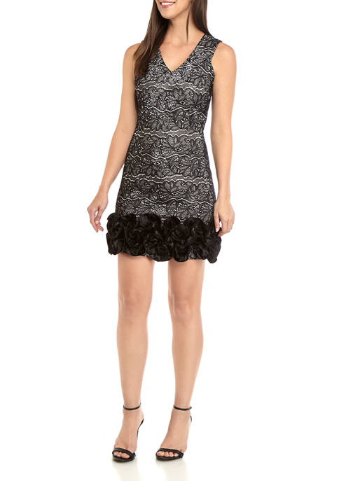 Donna Ricco New York Womens Sleeveless Lace V-Neck