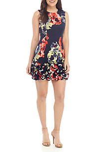 Donna Ricco New York Sleeveless Scuba Printed Cupcake Dress