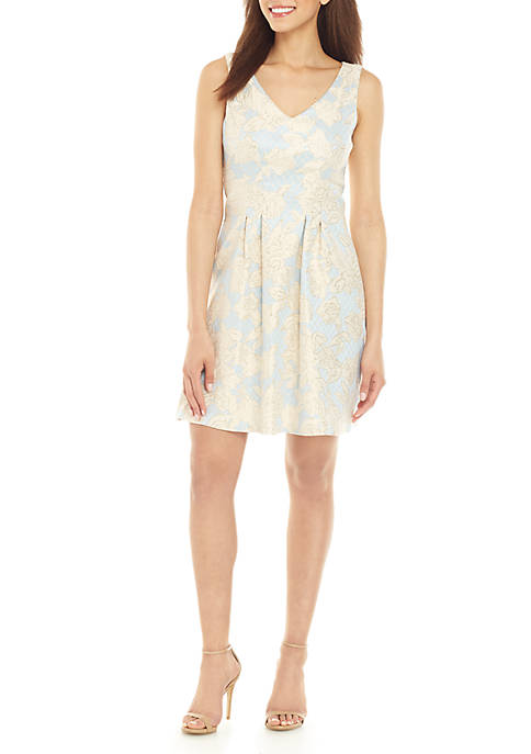Donna Ricco New York Printed Brocade Fit and