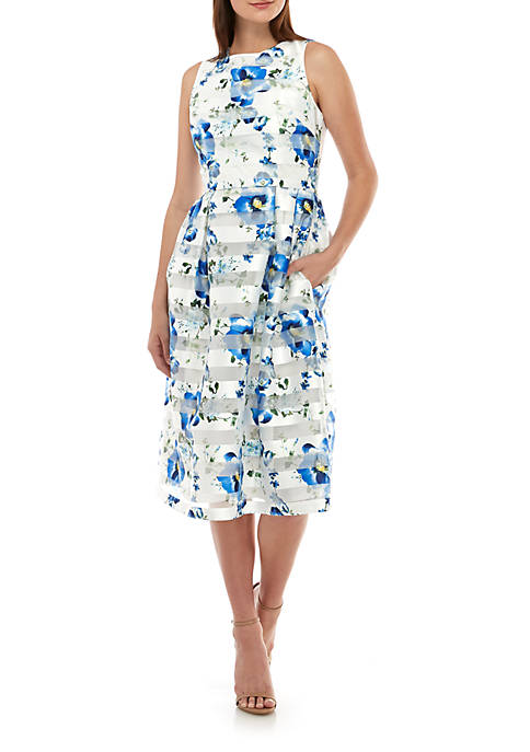 Donna Ricco New York Sleeveless Floral Shadow Stripe