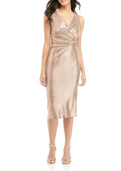Donna Ricco New York Womens Sleeveless Faux Wrap