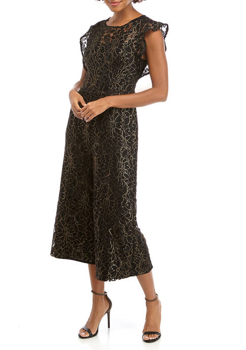 Womens Metallic Lace Cropped Jumpsuit