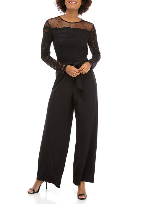 Donna Ricco New York Womens Lace Detail Jumpsuit