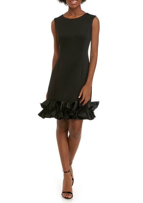 Womens Sleeveless Ruffle Scuba Dress