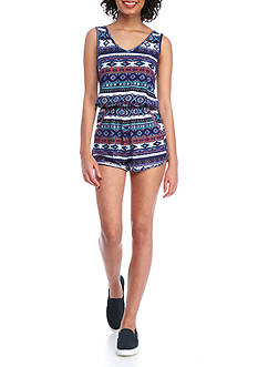 Derek Heart Printed Knit Romper With Pockets