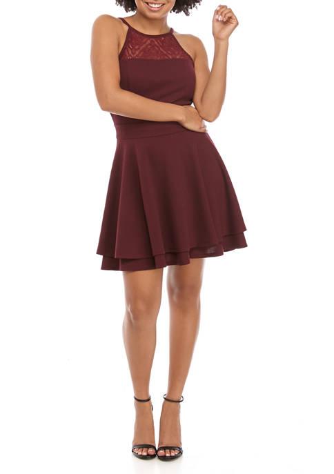 Juniors Double Layer High Lace Neck Dress