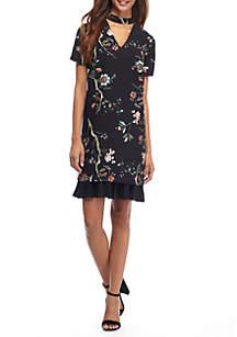 Floral Printed Choker V-Neck Shift Dress