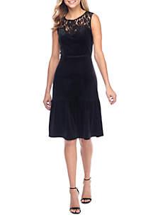 Lace Yoke Velvet Dress with Flounce Hem