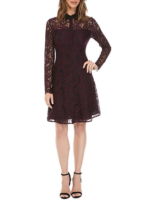 Lace Button Front Shirt Dress