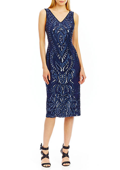 Nicole Miller New York Sleeveless Sequin Cocktail Dress   belk