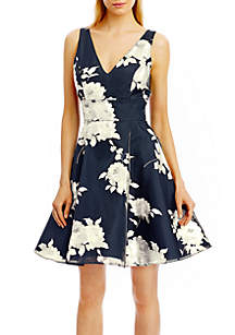 Nicole Miller New York Floral Fit and Flare Cocktail Dress