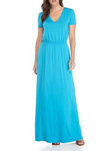 Short Sleeve V-Neck Maxi Dress