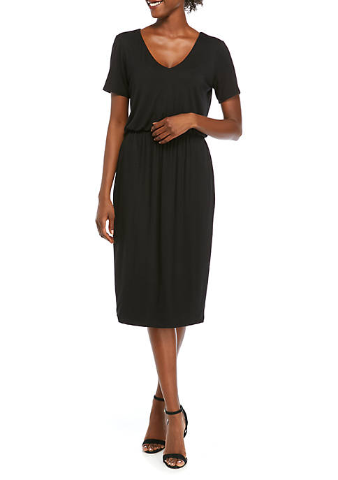 Charles Henry Womens V Neck Short Sleeve Midi