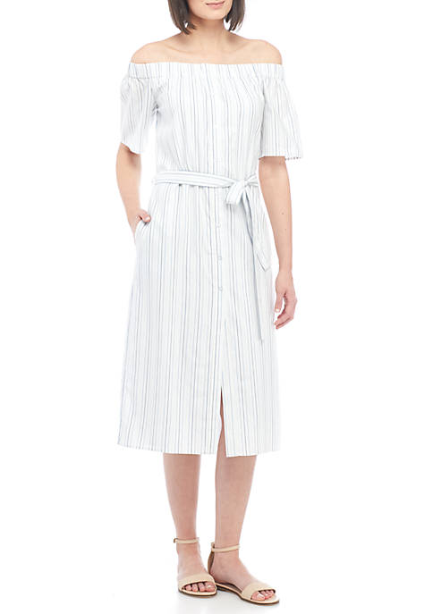 Charles Henry Off-The-Shoulder Belt Stripe Midi Dress