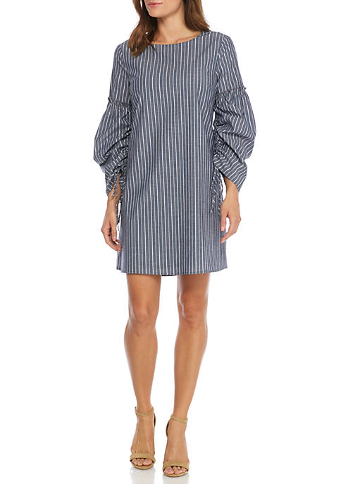 Stripe Ruched Sleeve Shift Dress