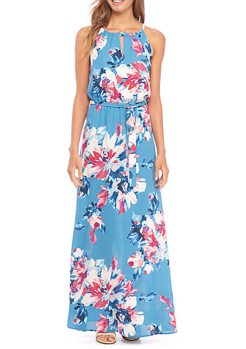 Charles Henry Belted Halter Neck Maxi Dress