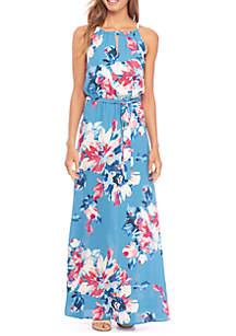 Belted Halter Neck Maxi Dress