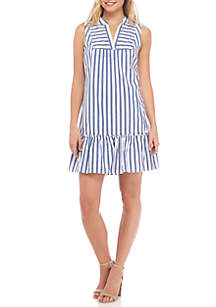 Sleeveless Bib Front Stripe Dress