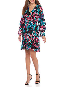 Wrap Tiered Sleeve Dress