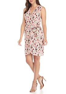 Belted Faux Wrap Mini Dress