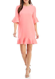 Elbow Sleeve Ruffle Hem Shift Dress