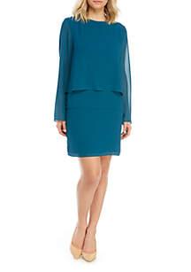 Charles Henry Long Sleeve Popover Mini Dress