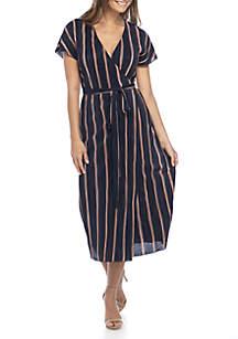 Short Sleeve Stripe Wrap Maxi Dress