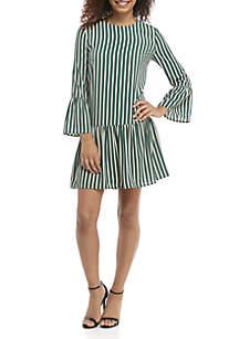 Long Sleeve Ruffle Hem Stripe Dress