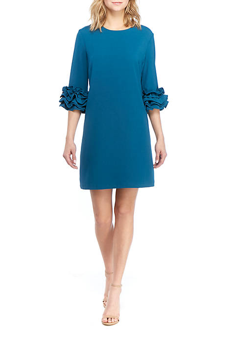 Charles Henry 3/4 Ruffle Sleeve Shift Dress