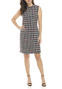 Printed Sheath Dress with Fringe Trim