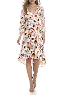3/4 Sleeve High Low Faux Wrap Floral Dress